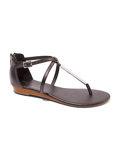 Metal Bar T-Strap Sandal  - New York & Company
