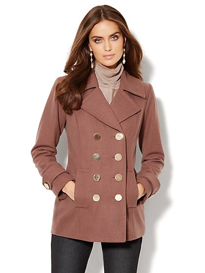 Metal-Button Wool-Blend Peacoat - Midtown Brown - New York & Company