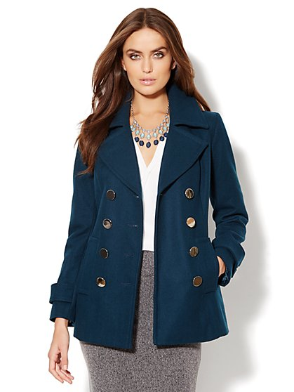 Metal-Button Wool-Blend Peacoat - Teal - New York & Company