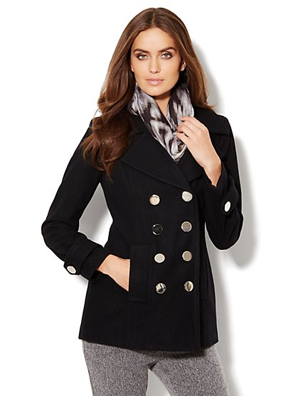 Metal-Button Wool-Blend Peacoat - New York & Company