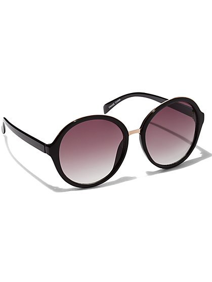 Metal-Rim Round Sunglasses  - New York & Company