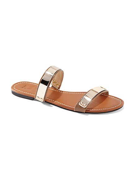 Metallic-Accent Two-Strap Flat Sandal  - New York & Company