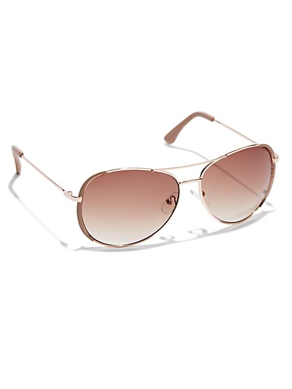 Metallic Aviator Sunglasses - New York & Company