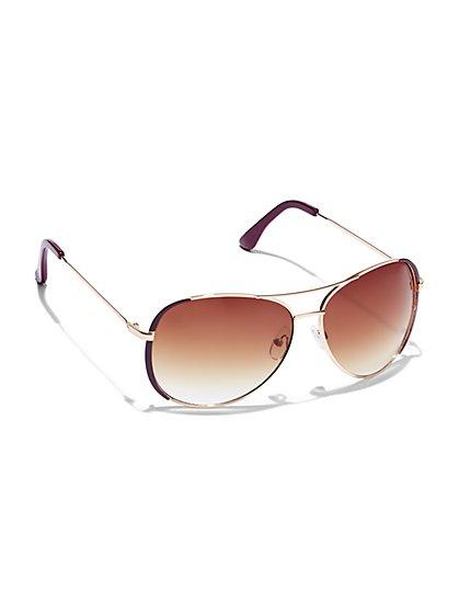 Metallic Aviator Sunglasses - New York & Company