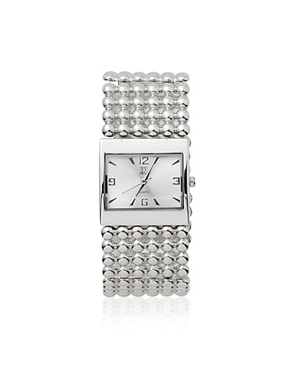 Metallic-Beaded Bracelet Watch - New York & Company
