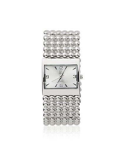 Metallic-Beaded Bracelet Watch - New York & Company