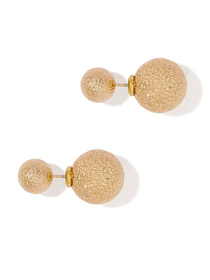 Metallic Beaded Stud Earring - New York & Company