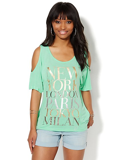 Metallic Big-City Graphic Tee  - New York & Company