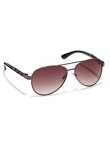 Metallic-Braided Aviators - New York & Company