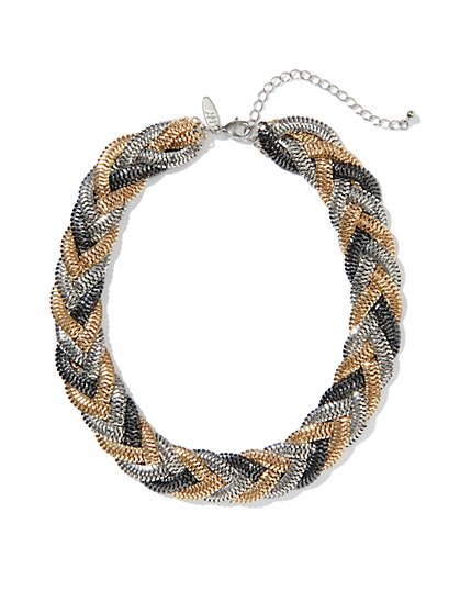 Metallic Braided Necklace - New York & Company