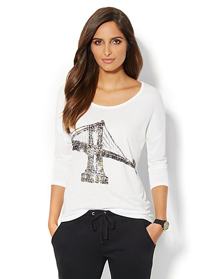 Metallic Bridge Logo Tee  - New York & Company