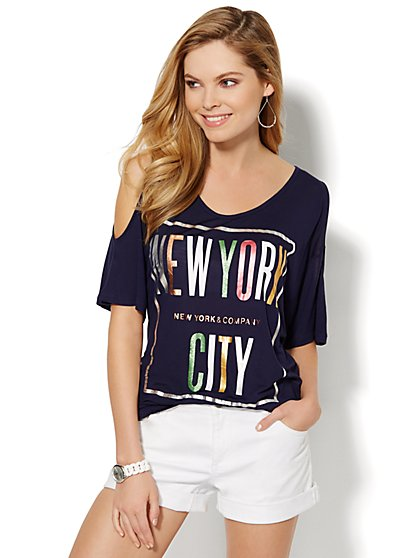 Metallic Cold-Shoulder NYC Tee  - New York & Company