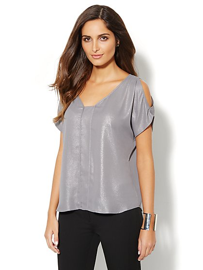 Metallic Cold-Shoulder Top  - New York & Company