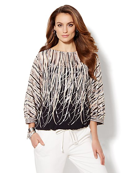 Metallic Dolman-Sleeve Blouse - New York & Company