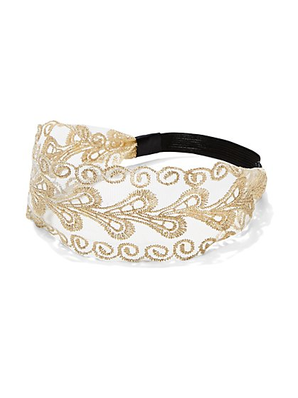 Metallic Embroidered Lace Headband - New York & Company