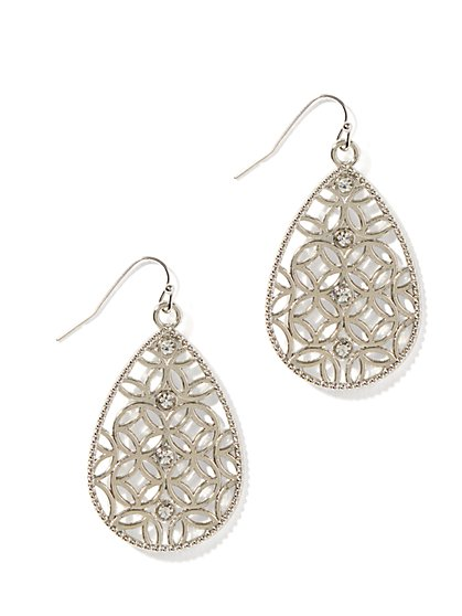 Metallic Filigree Teardrop Earrings