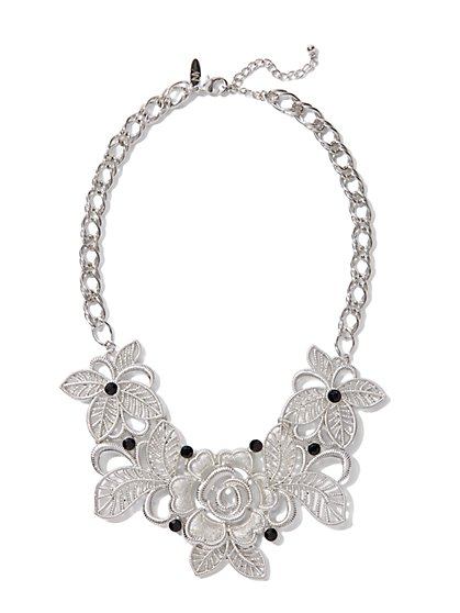 Metallic Floral Bib Necklace - New York & Company
