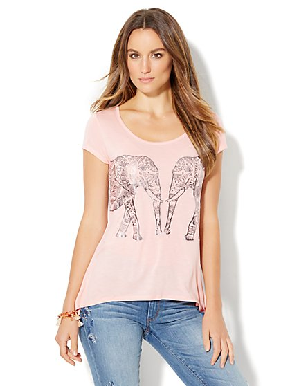 Metallic Foil Elephant Graphic Logo Tee - Pink  - New York & Company