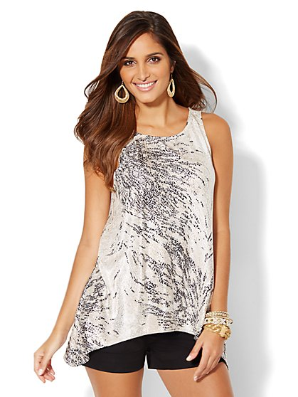 Metallic Foil Sleeveless Top - New York & Company