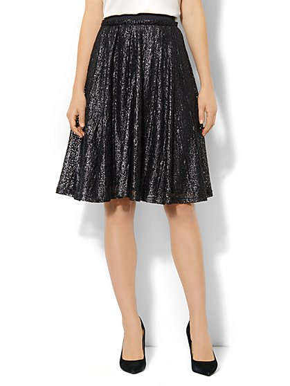 Metallic Lace-Overlay Circle Skirt  - New York & Company