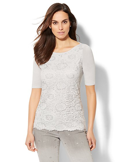 Metallic Lace Overlay Top - New York & Company