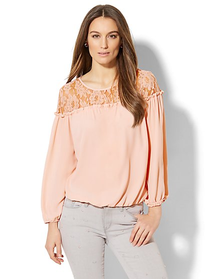 Metallic Lace Peasant Blouse - New York & Company