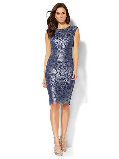 Metallic Lace Sheath Dress - New York & Company