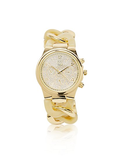 Metallic-Links Pave Watch - New York & Company