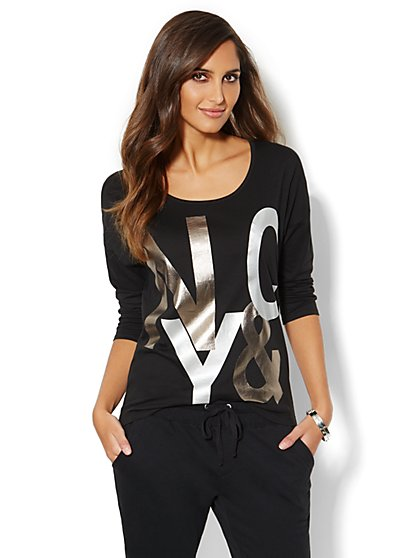 Metallic Logo Dolman Tee  - New York & Company