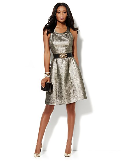 Metallic Matelassé Halter Dress  - New York & Company