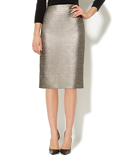 Metallic Matelassé Pencil Skirt  - New York & Company