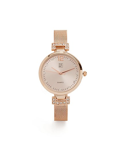 Metallic Mesh-Strap Watch