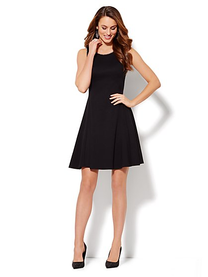 Metallic-Trim Cotton Flare Dress  - New York & Company
