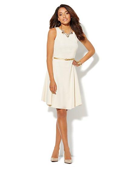 Metallic-Trim Cotton Flare Dress  - New York & Company