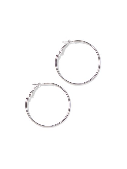 Metallic-Tube Hoop Earring