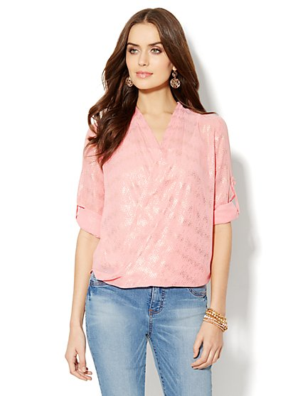 Metallic Wrap-Front Blouse  - New York & Company