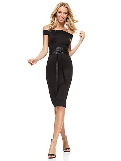 Midi Bandage Sheath Dress - Black  - New York & Company
