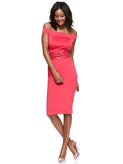 Midi Bandage Sheath Dress - Bright Rose  - New York & Company
