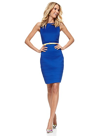 Midi Bandage Sheath Dress - Sullivan Blue   - New York & Company