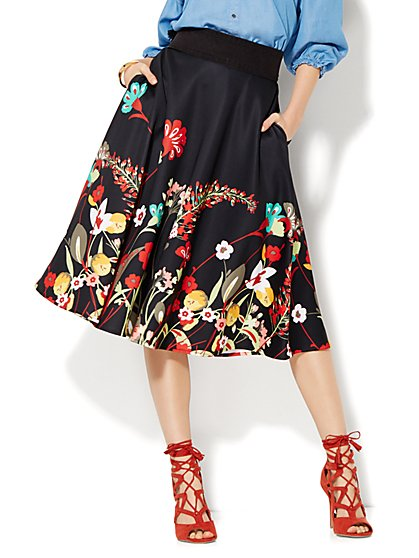 Midi Circle Skirt - Floral - Scuba - New York & Company