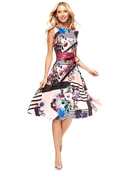 Midi Flare Dress - Floral/Linear Print  - New York & Company
