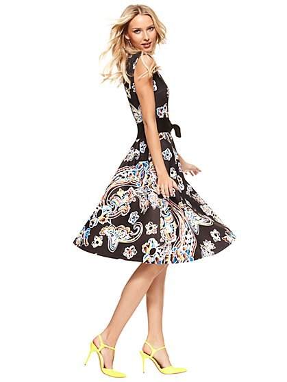 Midi Flare Dress - Floral/Paisley Print  - New York & Company