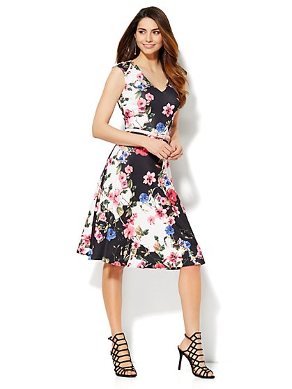 Midi Flare Dress - Floral  - New York & Company
