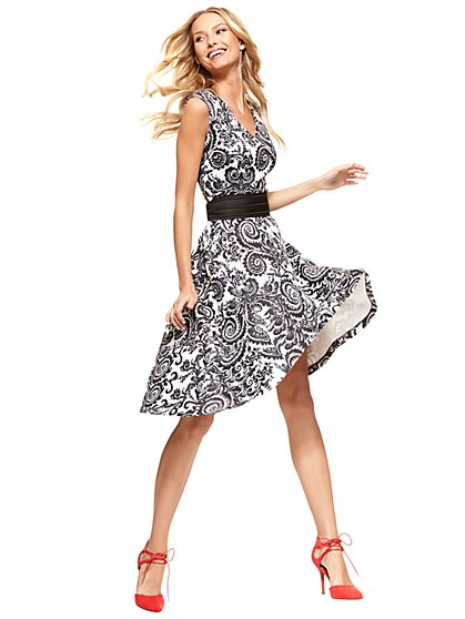 Midi Flare Dress - Scroll Print  - New York & Company