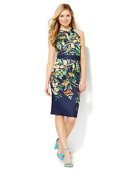 Midi Halter Sheath Dress - Floral  - New York & Company