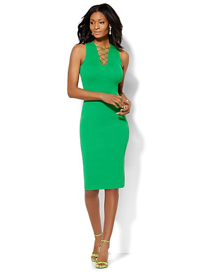 Midi Lace-Up Sweater Sheath Dress  - New York & Company