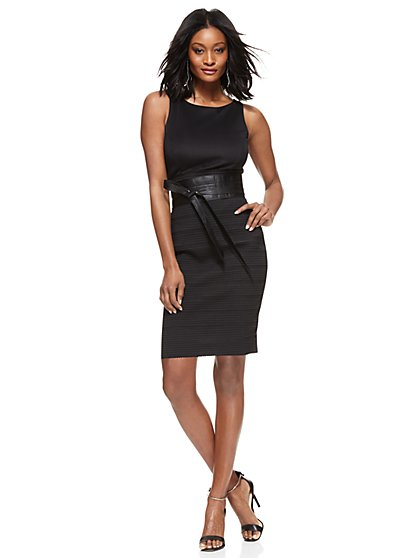 Midi-Length Bandage Sheath Dress - Black  - New York & Company