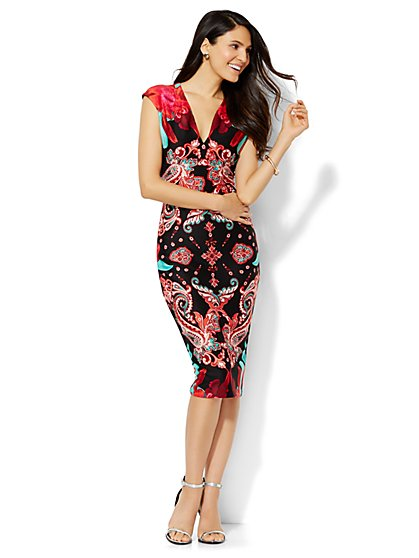Midi Scuba Dress - Floral - Petite  - New York & Company