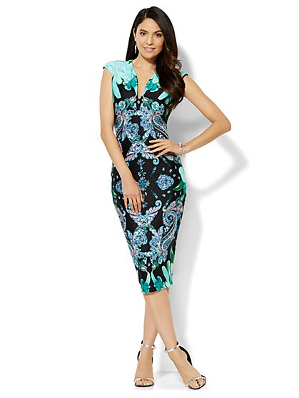 Midi Scuba Dress - Floral - New York & Company