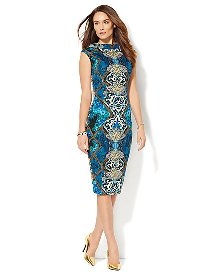 Midi Scuba Funnel-Neck Sheath Dress - Print  - New York & Company